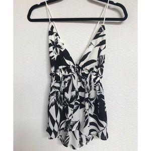 Express Tops - Black and white floral peplum camisole